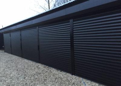 black-multiple-roller-garage-doors