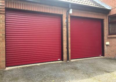 Burgundy red roller doors