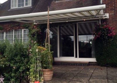 Awning with lighting rail