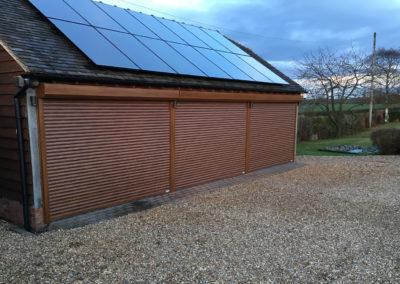 Golden oak external fit roller doors