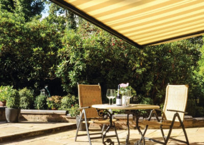 Ascot awning to shade seating area