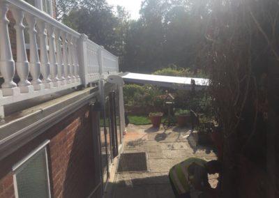 Berkshire awning on goalpost swan neck brackets